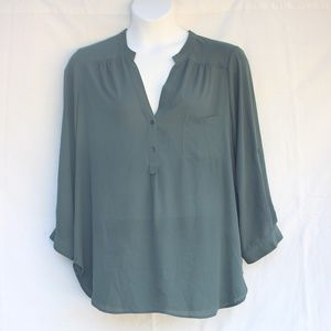 Anthropologie Pleione Green Mandarin Collar Blouse